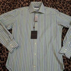 Thomas Dean Green White Blue Striped Shirt L/S NEW